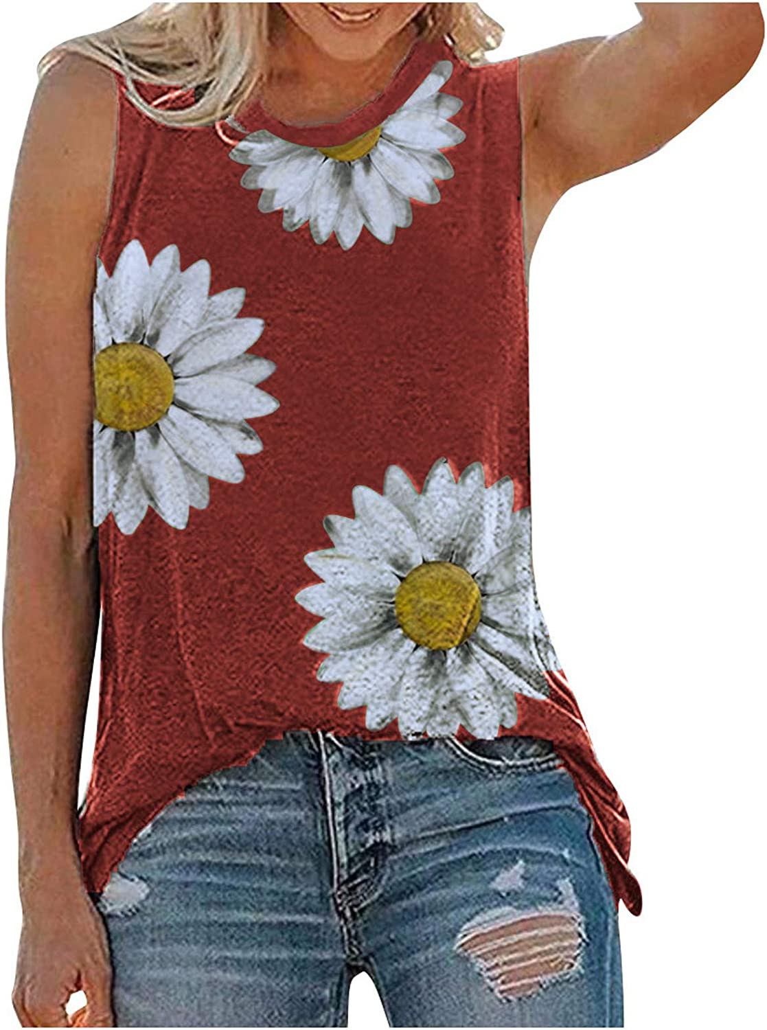 Tank Tops for Women Casual Summer, Womens Crop Tops Fashion Graphic Printed Sleeveless Blouse Loose Fit Tunics