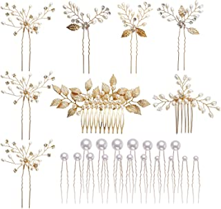 inSowni 26 Pack Gold Wedding Bridal Hair Side Combs+U Shaped Hair Pins Clips Barrettes Leaf Flower Rhinestone Pearl Access...