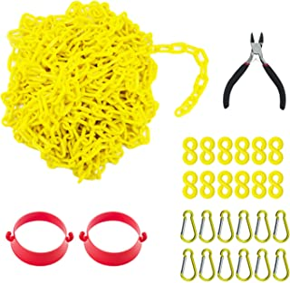 Reliabe1st 50 Feet Yellow Plastic Safety Barrier Chain with 12 S-Hooks and 12 Carabiner Clips and 2 Cone Chain Connector K...