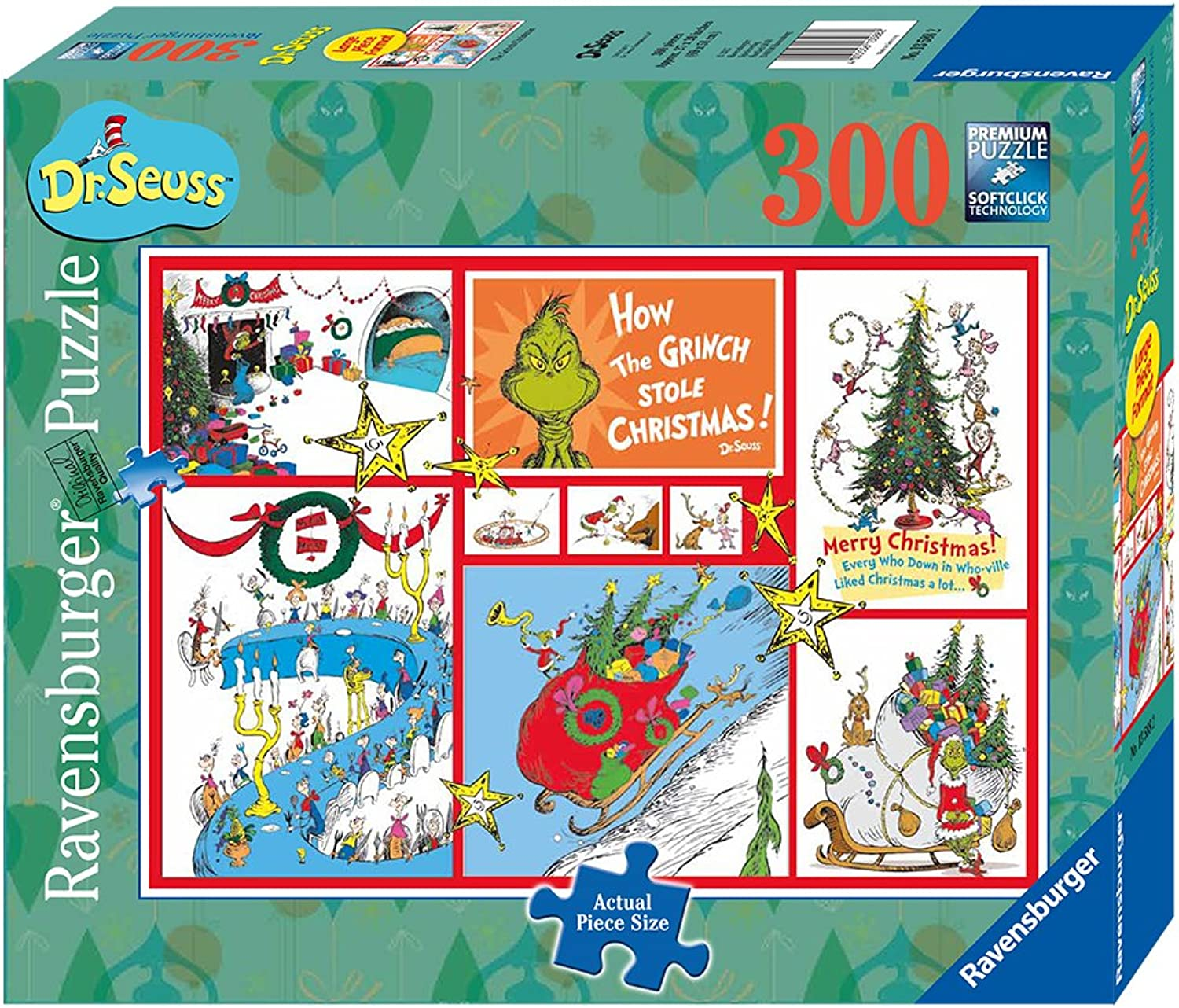 Ravensburger The Grinch Christmas Large Format Puzzle 20  x 27  300 Piece Jigsaw Puzzle for Kids   Every Piece is Unique, Pieces Fit Together Perfectly