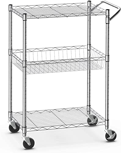 lowest Giantex 3-Tier Rolling Utility Cart, Kitchen Island Cart on Wheels, 2021 with Handle Bar, Adjustable Shelves, Wire Mesh 2021 Microwave Cart for Utensils or Tableware, Commercial Grade Serving Cart (Silver) online sale