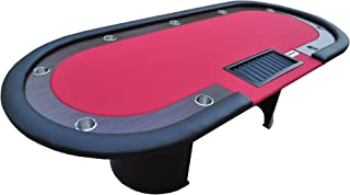 "IDS Poker Table 10 Players with Wooden Racetrack Cup Holders Plastic Chip Trays Drop Box- 96"" x 43"" x 30"" Inch Oval"