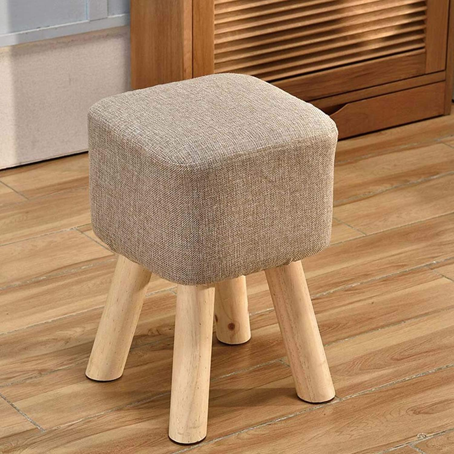 Solid Wood Home Heightening Stool Living Room shoes Bench Adult Square Stool Fabric Sofa Bench Bench,B