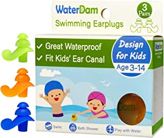 WaterDam Ear Plugs for Swimming Kids – 3 Pairs Soft Silicon Earplugs Reusable, Great Waterproof !!!(Green, Blue, Orange)