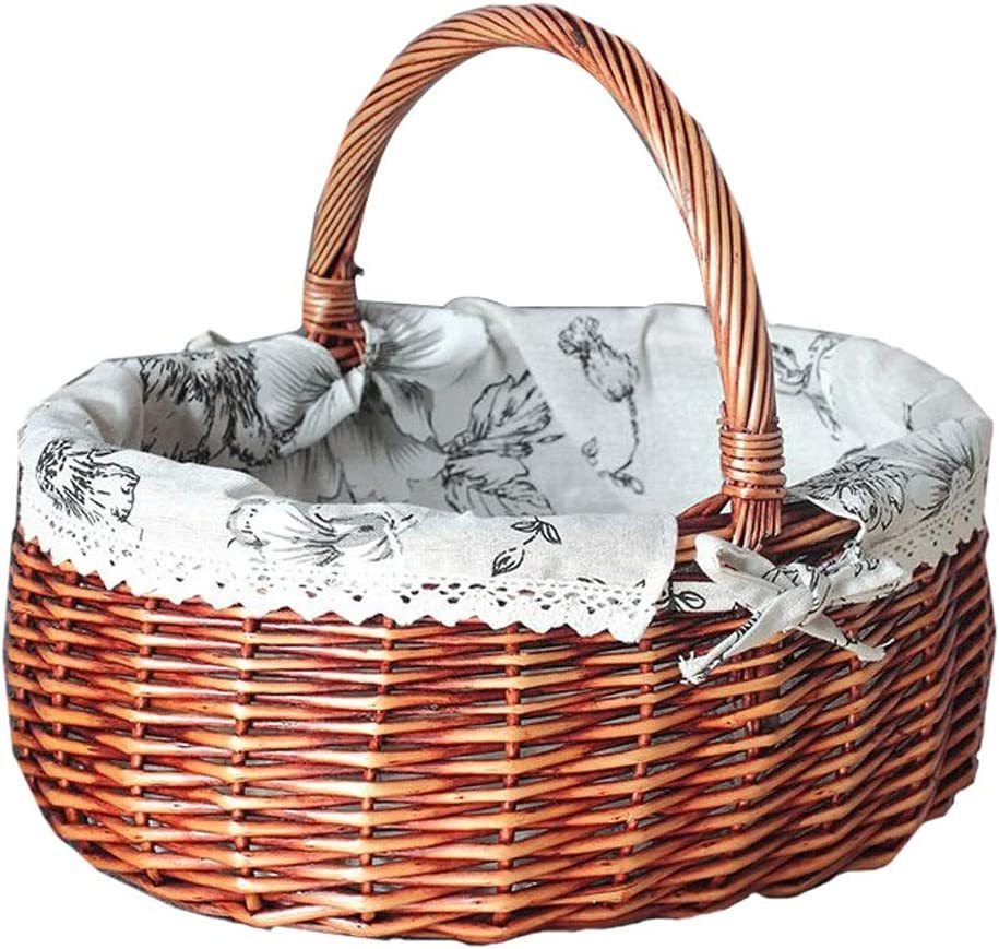 Picnic Basket Rattan Storage : Quantity limited Gifts B Color Portable
