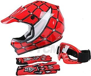 TCMT Dot Youth & Kids Motocross Offroad Street Helmet Red...