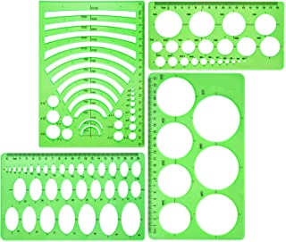 Boao 4 Pieces Template Plastic Rulers Circle Oval Circle Radius Drawing Templates for Office and School Supplies (Clean Gr...