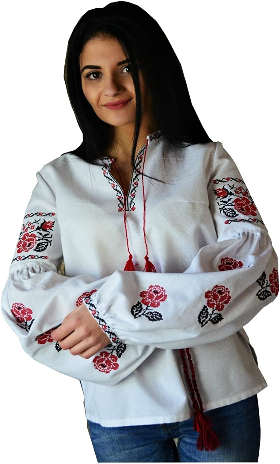 Ukrainian Embroidered Folk Blouse for Women Bohemian Cotton pinks(Vyshyvanka).