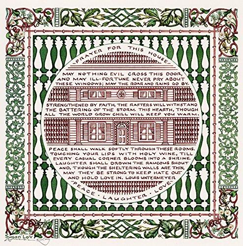 """Caligrafia literária """"House Prayer"""" da Casa Poética de Louis Untermeyer Blessing de Susan Loy"""