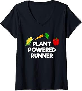 Womens Plant Powered Runner Vegan Running V-Neck T-Shirt