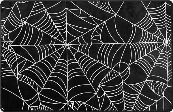 Cooper Girl Halloween Spider Web Decorative Area Rug Pad Floor Mat For Living Dining Room Bedroom 31x20 60x39 Inch Black