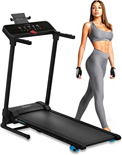 SereneLife Smart Digital Folding Treadmill - Electric Foldable Exercise Fitness Machine, Large Running Surface, 3 Incline Settings, 12 Preset Program, Sports App for Running & Walking (SLFTRD30)