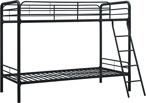 DHP Twin Over Twin Bunk Bed With Metal Frame And Ladder Space Saving Design Black