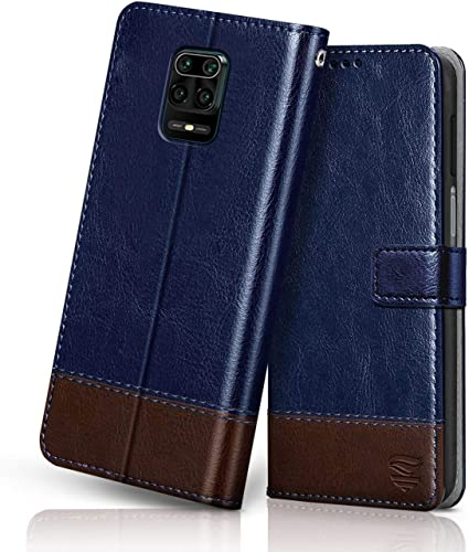 FLIPPED Vegan Leather Redmi Note 9 Pro 9 Pro Max Flip Case Cover Card Pockets Magnetic Closure Wallet Flip Cover for XIAOMI MI REDMI Note 9 Pro 9 Pro MAX Hand Stitched Blue with Brown