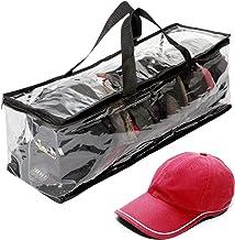 "Houseables Hat Storage Organizer, Baseball Cap Bag, Washer Case, 23"" x 6"" x 8"", Clear Plastic, Stand Holder, Black Handles..."