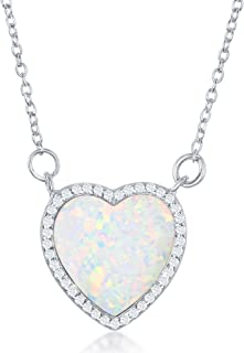 Beaux Bijoux Sterling Silver Created Blue/White Opal Heart with Cubic Zirconia Border 18