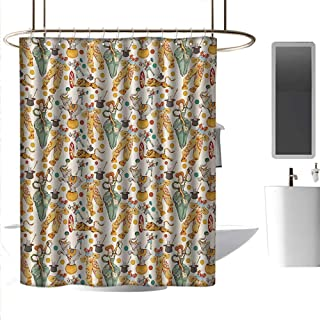 coolteey Shower Curtains Liner Circus,Vintage Circus with Clown and The Magical Wand Doing a Trick Doodle Style Design,Multicolor,W48 x L72,Shower Curtain for Girls
