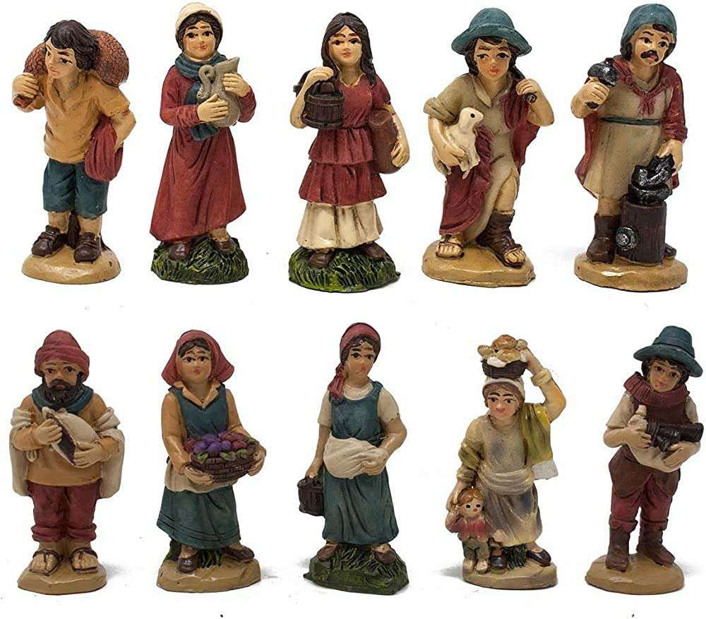 Aurora store set 10 pastori in resina 5 cm,personaggi del presepe.