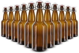Kegco 1 Liter Flip-Top Home Brew Beer Bottles - Amber (Case of 12)