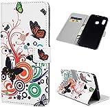 F�r Samsung Galaxy A30 H�lle Lader Tasche PU Lader H�lle Gemalt Muster Flip Brieftasche Kartenhalter Magnetschnalle St�nder Sto�fest Kratzfest Sto�stange Handyh�lle Schmetterlings-Liebes-Blume
