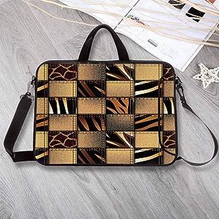 "Safari Decor Waterproof Neoprene Laptop Bag,Jeans Denim Patchwork in Safari Style Wilderness Stylish Fashionable Design Art Laptop Bag for Business Casual or School,14.6""L x 10.6""W x 0.8""H"