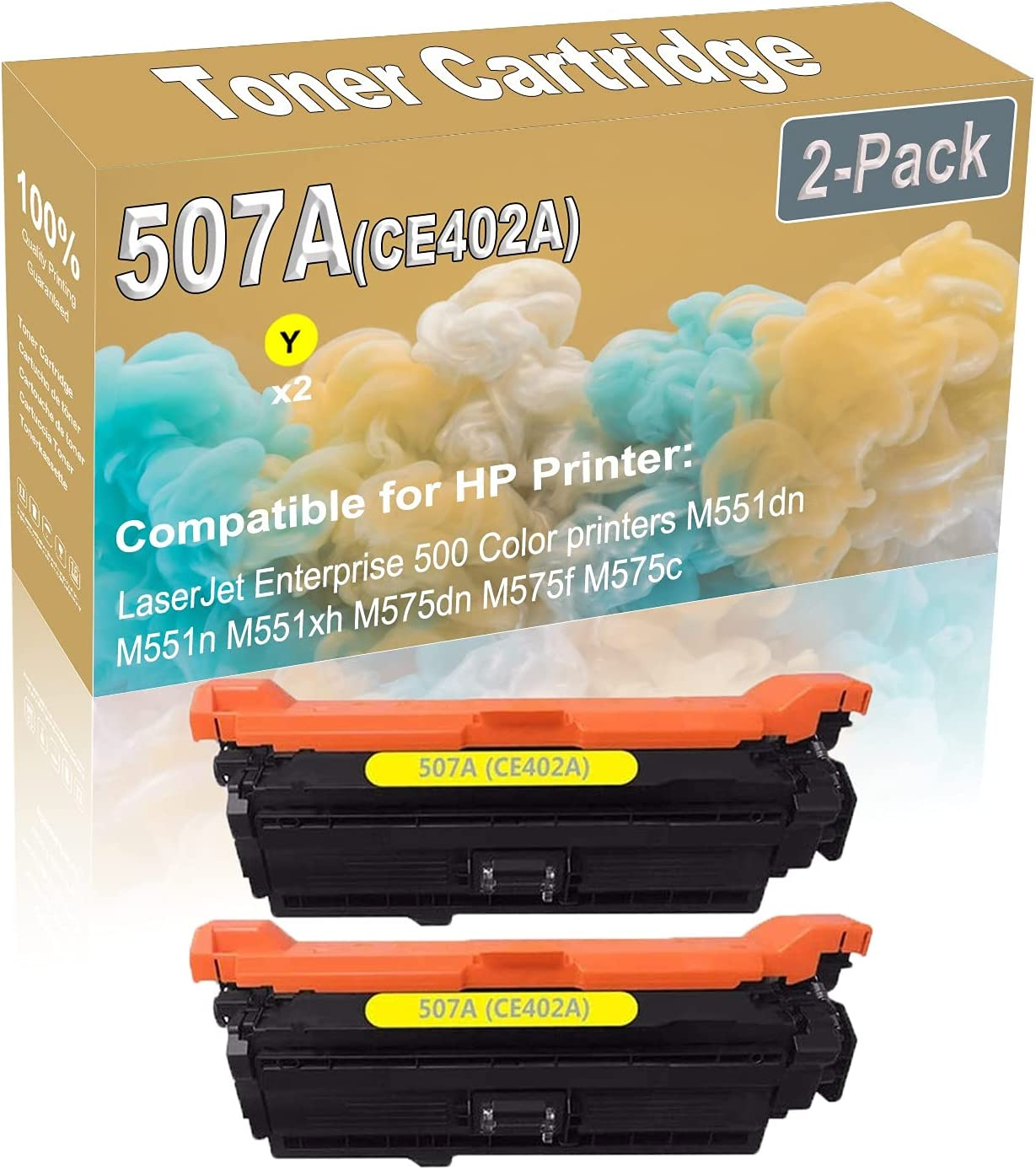 2-Pack (Yellow) Compatible High Yield 507A (CE402A) Printer Toner Cartridge use for HP Enterprise 500 Color M551dn Printers