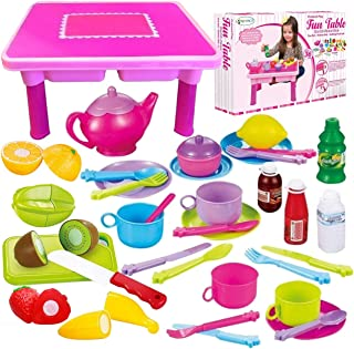"""FUNERICA 50-PCS All-in-one Gift for Little Girls - Tea Set, Dishes, Play Food, with Cute 17"""" Folding Table   Cutting Fruit..."""