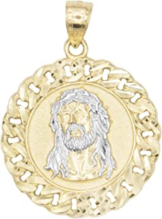 Ice on Fire Jewelry 10k Solid Two Tone White and Yellow Gold Jesus Head Pendant, Diamond Cut Finish Religious Prayer Medal