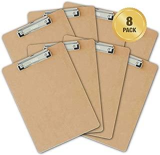 Portapapeles de madera A4 de calidad profesional con acabado suave y agarre para documentos y archivos, incluye un gancho para colgar (8 unidades)