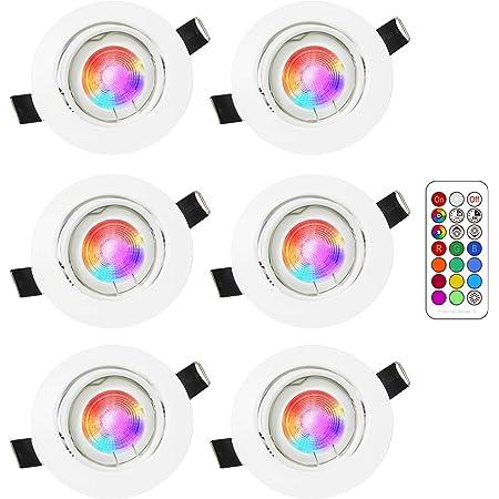 LED Spots Encastrables Orientable RGB Couleur Changement Lampe Blanc Chaud 2700K Plafonnier Encastré 5W Equivalente de 35W Ampoule 30°Orientable 120°d'éclairage 220V Rond Métal Blanc avec Télécommande