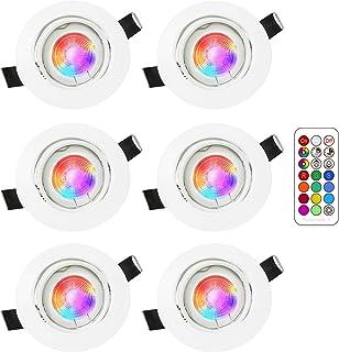 Foco Empotrable | Led Gu10 Luz de Techo 3W blanca fría de 6000K | RGB Regulable Cambio de Color | Ojos de Buey Marco Redondo AC220V-240V | bombilla LED para salón o dormitorio etc 6 piezas