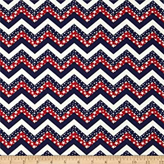 Santee Print Works Made in the USA Chevron & Stars Red White Blue Fabric By The Yard