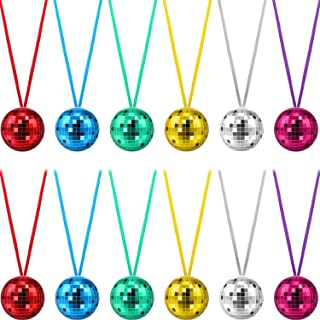 12 Pieces Assorted Color Disco Ball Necklaces 70s Disco Party Necklaces for Home Decorations, Stage Props, School Festivals, Party Favors and Costume Accessories