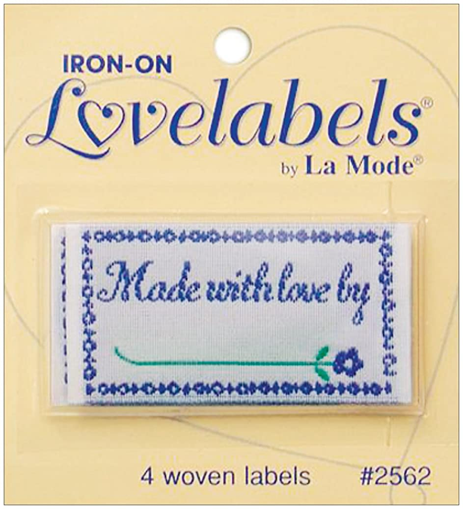 Blumenthal Lansing Iron-On Love Labels, Made with Love By, 4 Per Package o554655640170