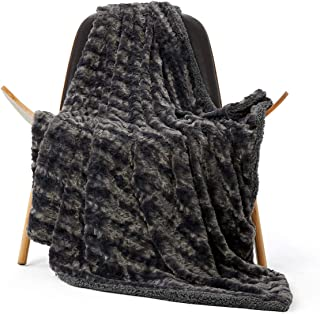 GONAAP Luxury Fluffy Embossed Mink Faux Fur with Super Soft Cozy Warm Sherpa Throw Blanket for Coach Sofa Onyx 5065 Wheat