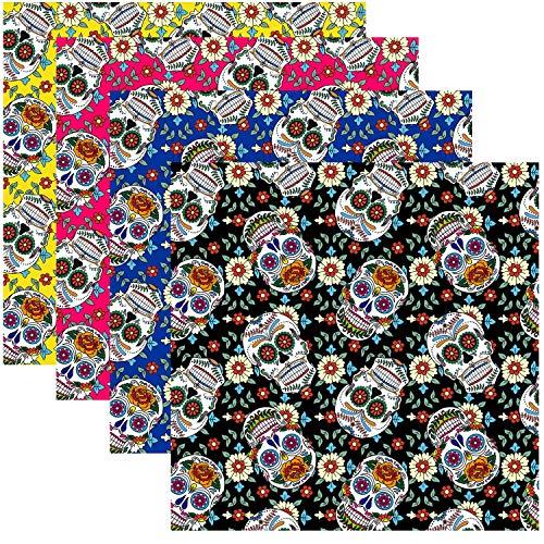 Travistar 4 Piezas 50 x 50cm Tela de Algodón Patchwork Paquete de tela de Patrón de Halloween patrón Costura de Material Textil Manualidades Retales Algodón para Coser DIY Bricolaje