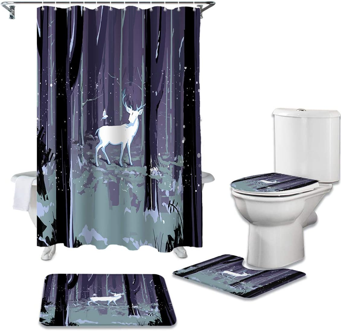 CHARMHOME 4 Piece Large-scale sale Shower Curtain Rug Toilet Sets Non-Slip with Cheap sale