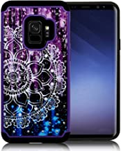 ZASE Case Compatible with Samsung Galaxy S9, Galaxy S9 Hybrid Dual Layer Protection [Jewel Rhinestone] Shockproof Slim Hard Shell Sparkly Crystal [Bling Diamond] Cover (Purple Blue Mandala Flower)