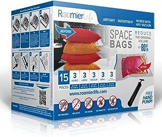 RoomierLife Premium Space Saver Bags 15pcs Variety Pack (3 x Small, Medium, Large, Jumbo & 3 x Travel Roll-Up Compression) Ziplock Vacuum Storage Bags