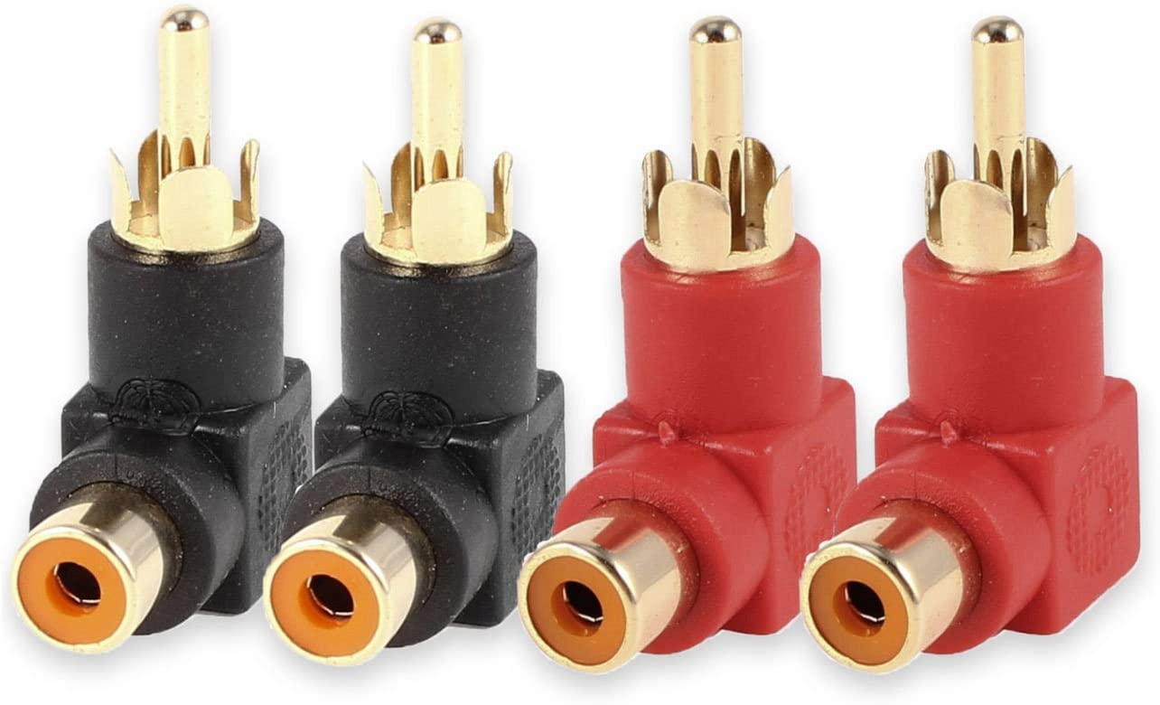Conwork 4-Pack Max 79% OFF RCA Male Direct stock discount to Female Right Plug Ada Degree 90 Angle