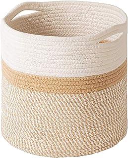 Redsa Petit panier rond en corde de coton tressée avec poignées Panier à linge Panier de rangement pour couverture