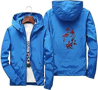 Thin Jacket Men Long Sleeve Black Zipper Windbreaker Men Hip hop Rose Embroidery Jackets Coat 4XL