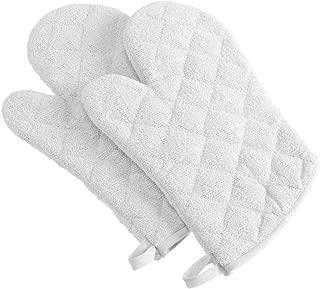 DII 100% Cotton Terry Oven Mitt Set, Ovenmitt, White, 2 Piece