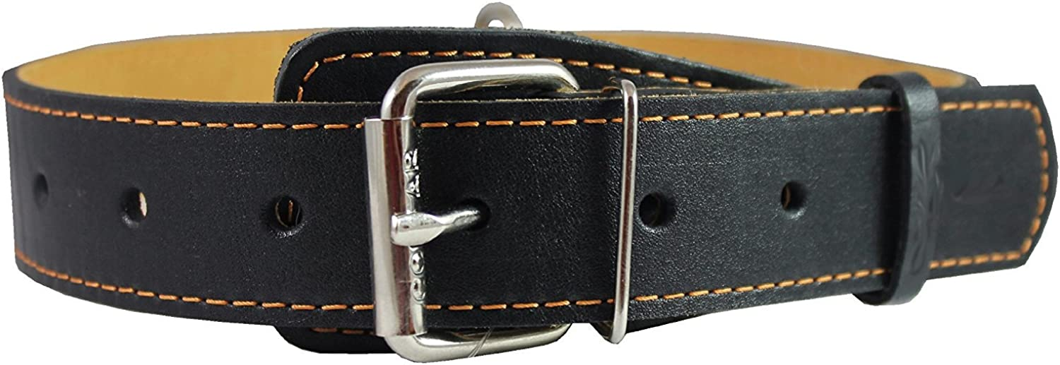 Genuine Thick Leather Collar for Large and XLarge Dogs 20 25  Neck Size, 1.5  Wide, Black