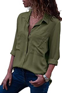 Women's Button Down Shirts Roll-up Sleeve Blouse V Neck Casual Tunics Solid Color Tops with Pockets