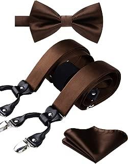 Solid 6 Clips Suspenders & Pre Tie Bow Tie and Pocket Square Set Y Shape Adjustable Braces