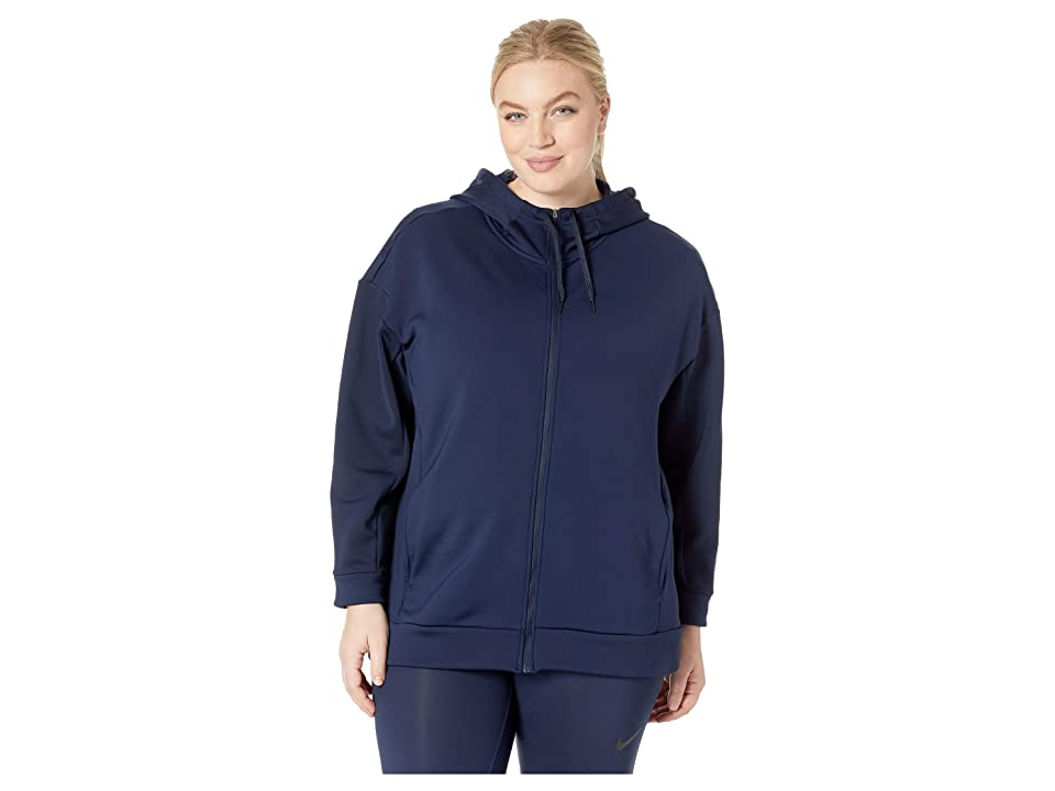 Nike Therma All Time Full Zip Hoodie (Sizes 1X-3X) (Obsidian/White) Women