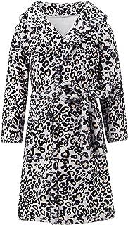 Funnycokid Girls Boys Hooded Bathrobe Kids Flannel Plush Soft Fleece Robe Pajamas Sleepwear 4-12 Years