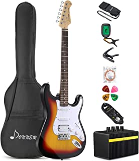 Donner DST-1S Solid Full-Size 39 Inch Electric Guitar Kit Sunburst Package with