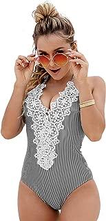Women's Halter Swimming Costume for Women V Neck Lace Striped One Piece Swimsuit Swimwear